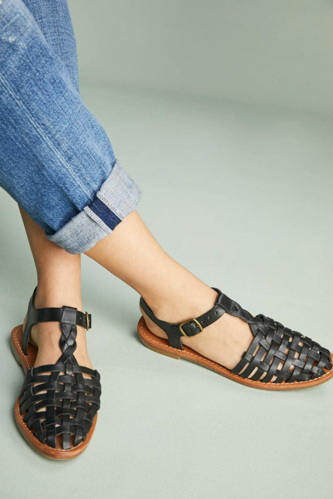 SOLUDOS Woven Fisherman Sandal in Black