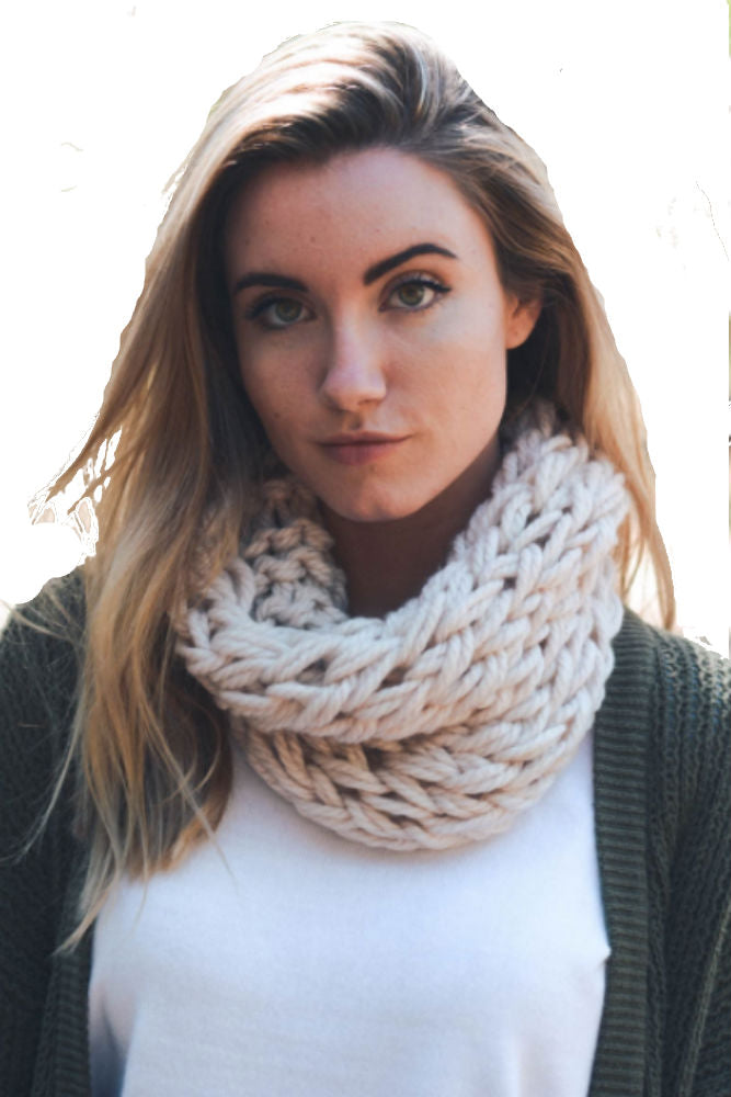 Leto Accessories Yarn Braided Snood in Ivory
