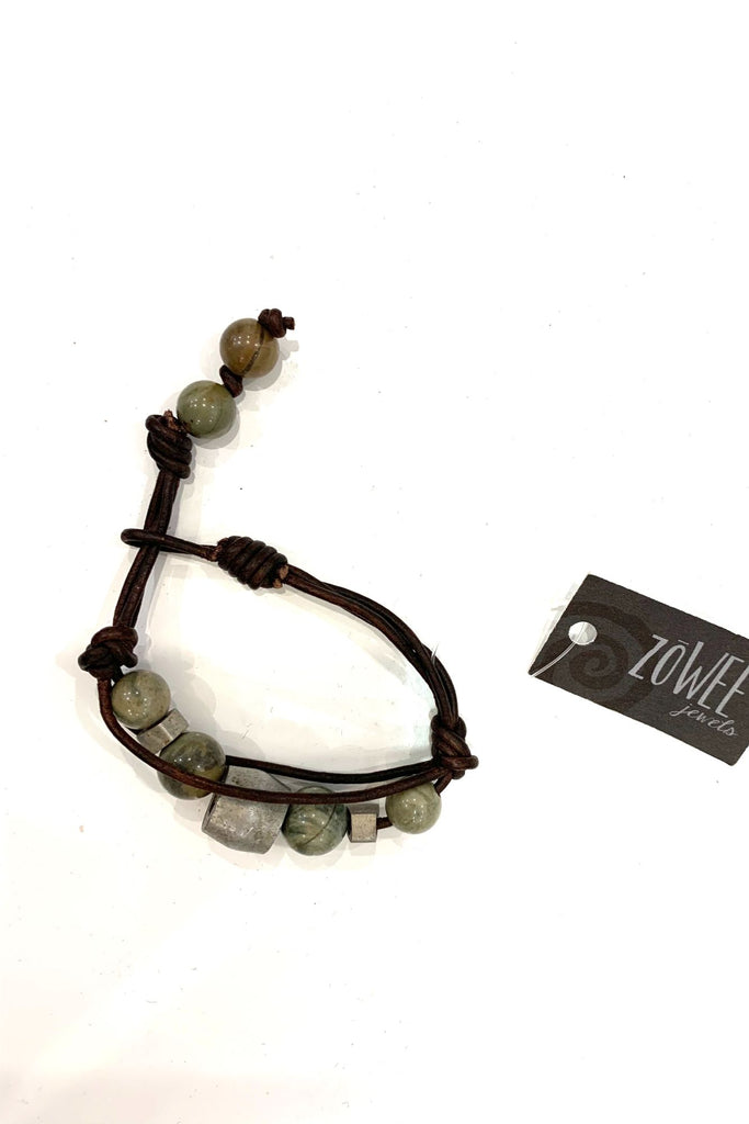 zoWEE Jewels African Turquoise Grey Leather Bracelet