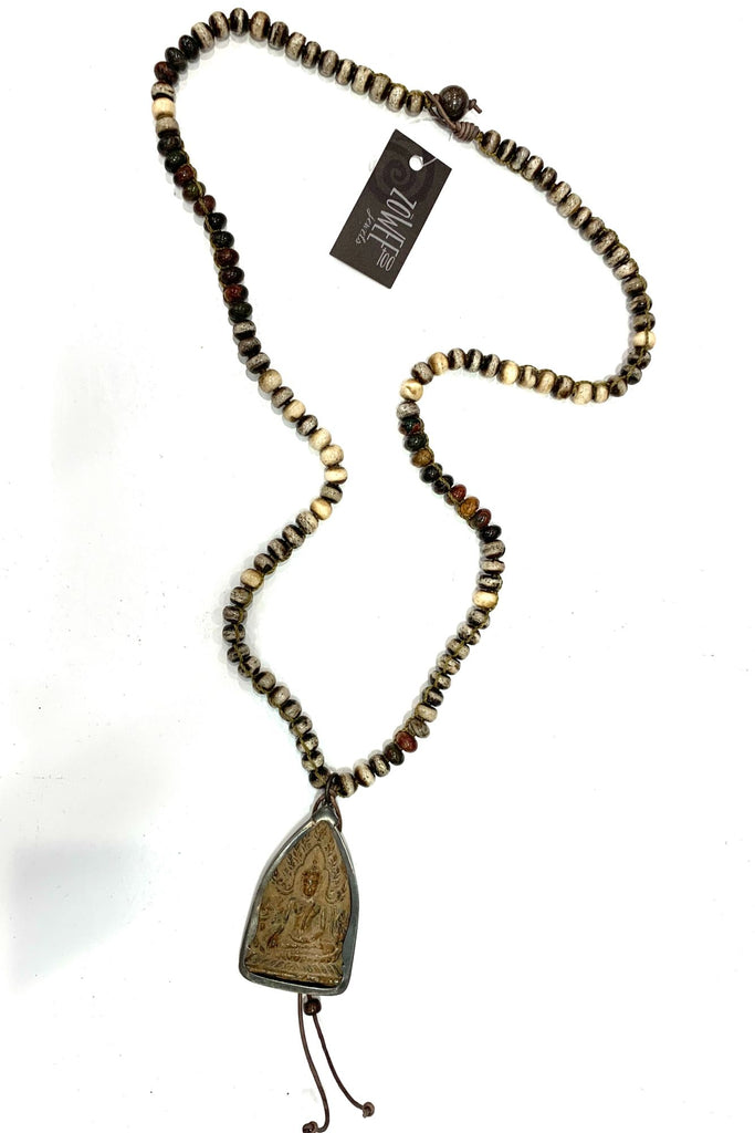 zoWEE Jewels Long Beaded Chain Necklace w/Buddha Bone Picasso
