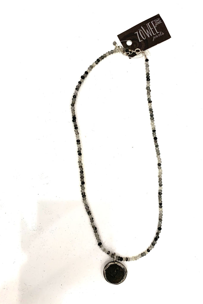 zoWEE Jewels Seed Beaded Necklace w/ Disc