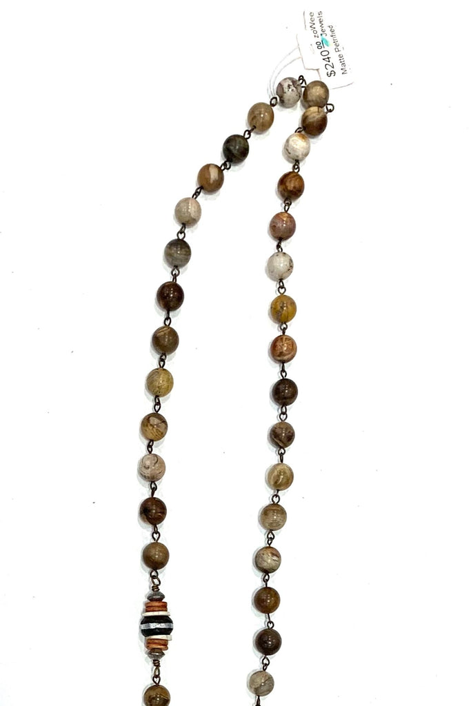 zoWee Jewels Matte Petrified Wood Beaded Pendant Necklace