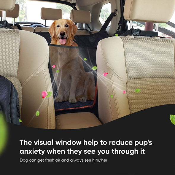 Dog Car Seat Cover, Large Back Pet Car Seat Protectors with Mesh Viewing Window and extra cover for a quick wash, 2 Seat Belt, Non-Scratch Waterproof Nonslip Dog Hammock for Cars Trucks and SUV