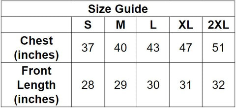 Fitted Long Sleeve Crew Shirt Size Guide by Naked Grit