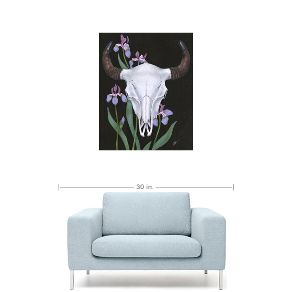 Bison with Wild Iris Giclée Canvas Print