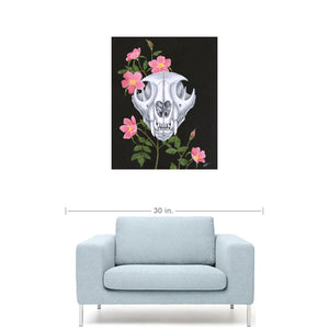 Mountain Lion with Wild Roses Giclée Canvas Print