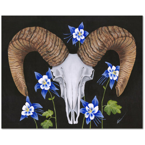 Ram with Columbines Giclée Canvas Print