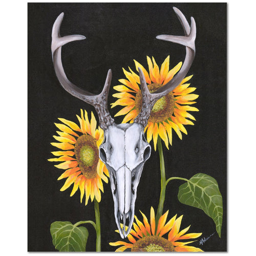 Deer with Sunflowers Giclée Canvas Print