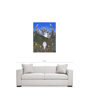 Framed Elk in the Rockies Giclée Canvas Print