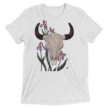 Unisex Bison skull with Wild Purple Iris art print on a soft and sturdy t-shirt made from premium combed and ring-spun cotton, rayon, and polyester by Naked Grit