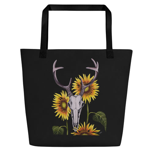 Whitetail buck deer skull with sunflowers art print on an extra roomy weather resistant spun polyester tote bag with an inside pocket by Naked Grit