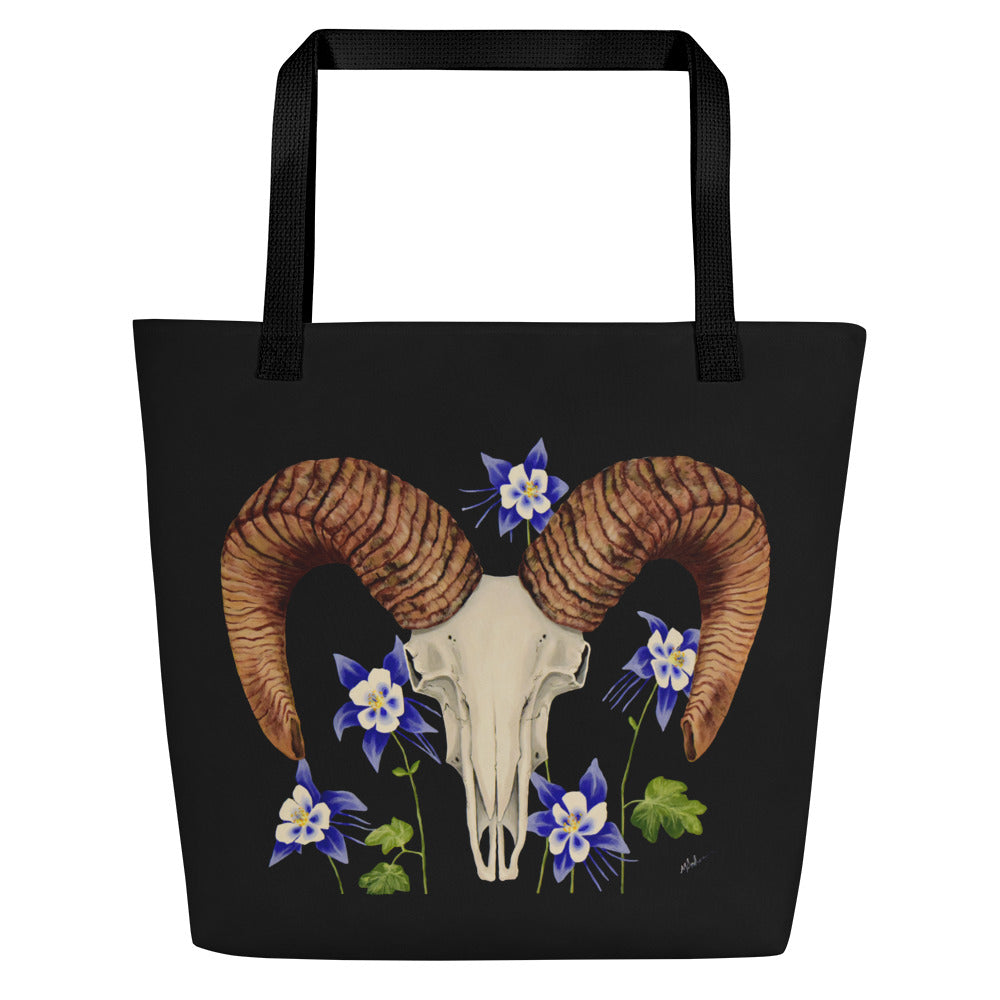 Bighorn Ram skull with Blue Columbines art print on an extra roomy weather resistant spun polyester tote bag with an inside pocket by Naked Grit