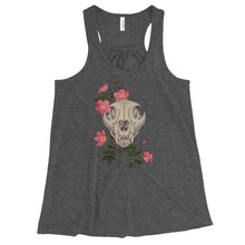 Mountain lion skull with pink wild roses art print on a lightweight grey racerback tank top from Naked Grit