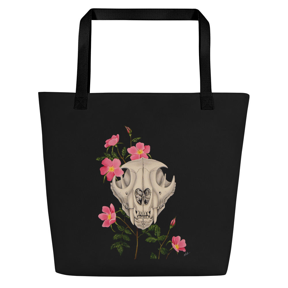 Mountain lion skull with pink wild roses art print on an extra roomy weather resistant spun polyester tote bag with an inside pocket by Naked Grit