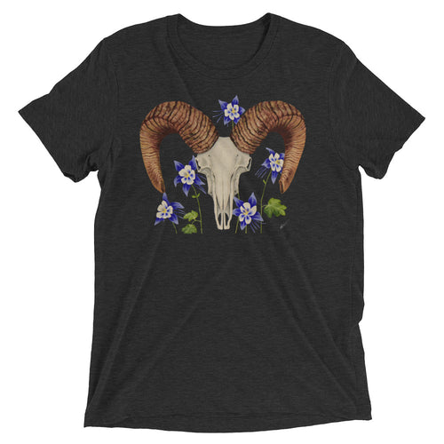 Unisex Bighorn Ram skull with Blue Columbines art print on a soft and sturdy t-shirt made from premium combed and ring-spun cotton, rayon, and polyester by Naked Grit
