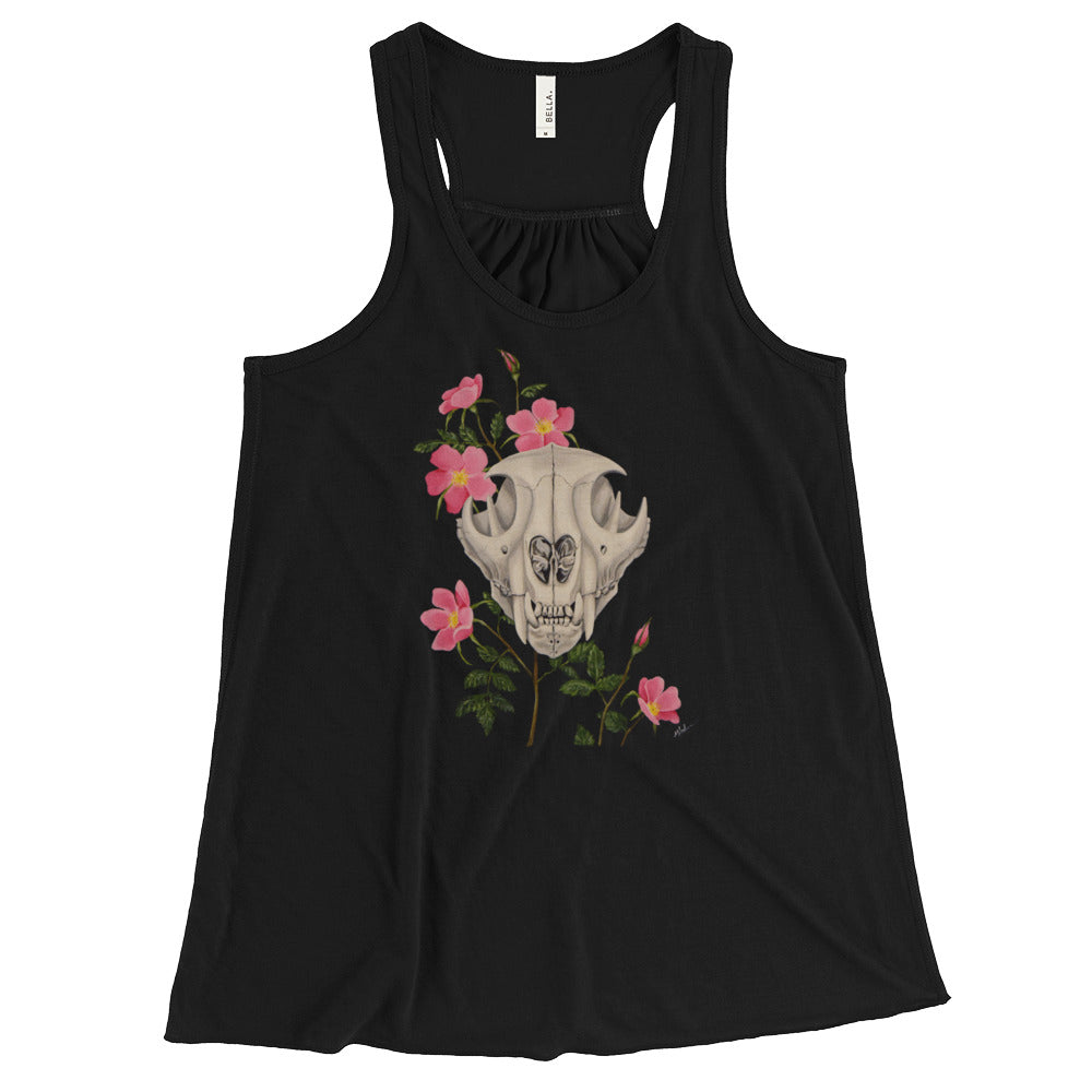 Mountain lion skull with pink wild roses art print on a lightweight black racerback tank top from Naked Grit