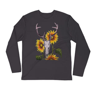 Men's Whitetail buck deer skull with sunflowers art print on a soft and sturdy long sleeve fitted crew made from premium combed and ring-spun cotton and polyester by Naked Grit