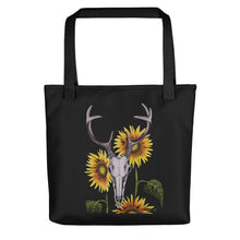 Whitetail buck deer skull with sunflowers art print on a weather resistant spun polyester tote bag by Naked Grit