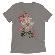 Unisex Mountain lion skull with pink wild roses art print on a soft and sturdy t-shirt made from premium combed and ring-spun cotton, rayon, and polyester by Naked Grit