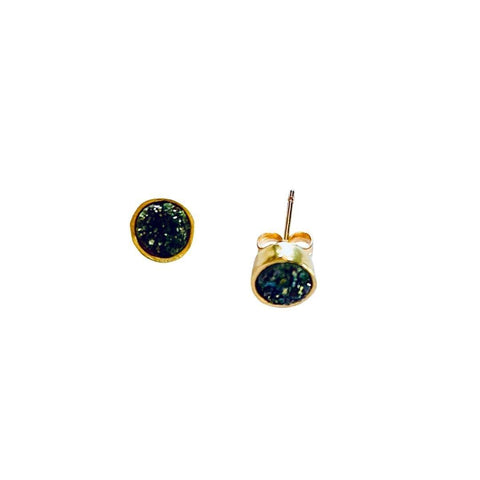 Druzy Gold Stud Earrings - Irit Sorokin Designs Canadian handmade jewelry