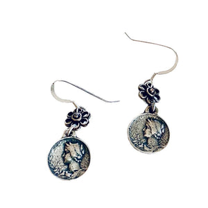 Coin Dangle Silver Earrrings - Irit Sorokin Designs Canadian handmade jewelry