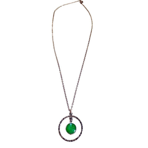 Emerald Pendant Short Silver Necklace - Irit Sorokin Designs Canadian handmade jewelry