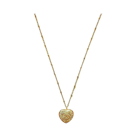 Heart Pave Swaravski Pendant Short Gold Necklace - Irit Sorokin Designs Canadian handmade jewelry