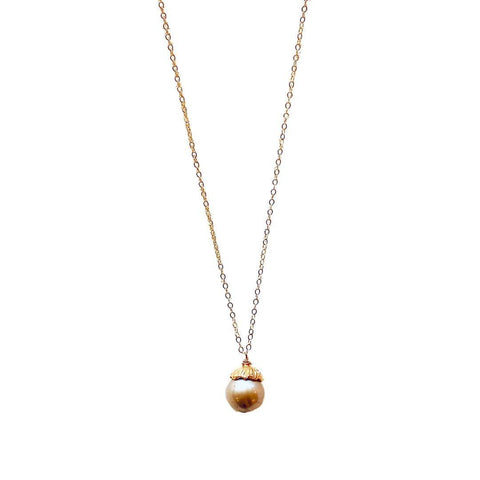 Fresh Water Pearl Gold Necklace - Irit Sorokin Designs Canadian handmade jewelry