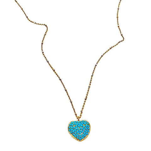 Turquoise Swaravski Heart Necklace - Irit Sorokin Designs Canadian handmade jewelry