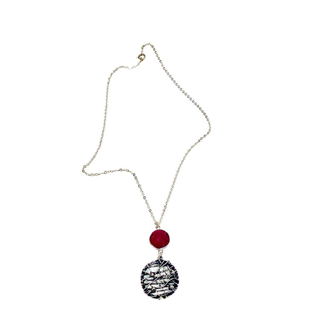 Ruby and Silver Pendant Necklace - Irit Sorokin Designs Canadian handmade jewelry