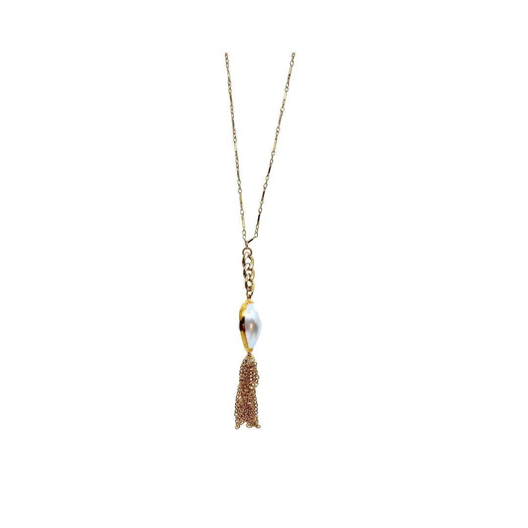 Fresh Water Pearl With Tassel Long Gold Necklace - Irit Sorokin Designs Canadian handmade jewelry