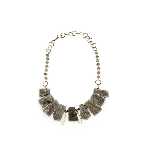 Labradorite Statement Artisan Necklace - Irit Sorokin Designs Canadian handmade jewelry
