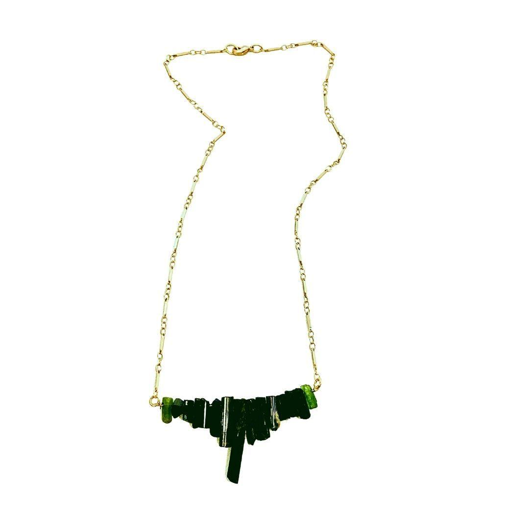 Green Tourmaline Bar Gold Necklace - Irit Sorokin Designs Canadian handmade jewelry