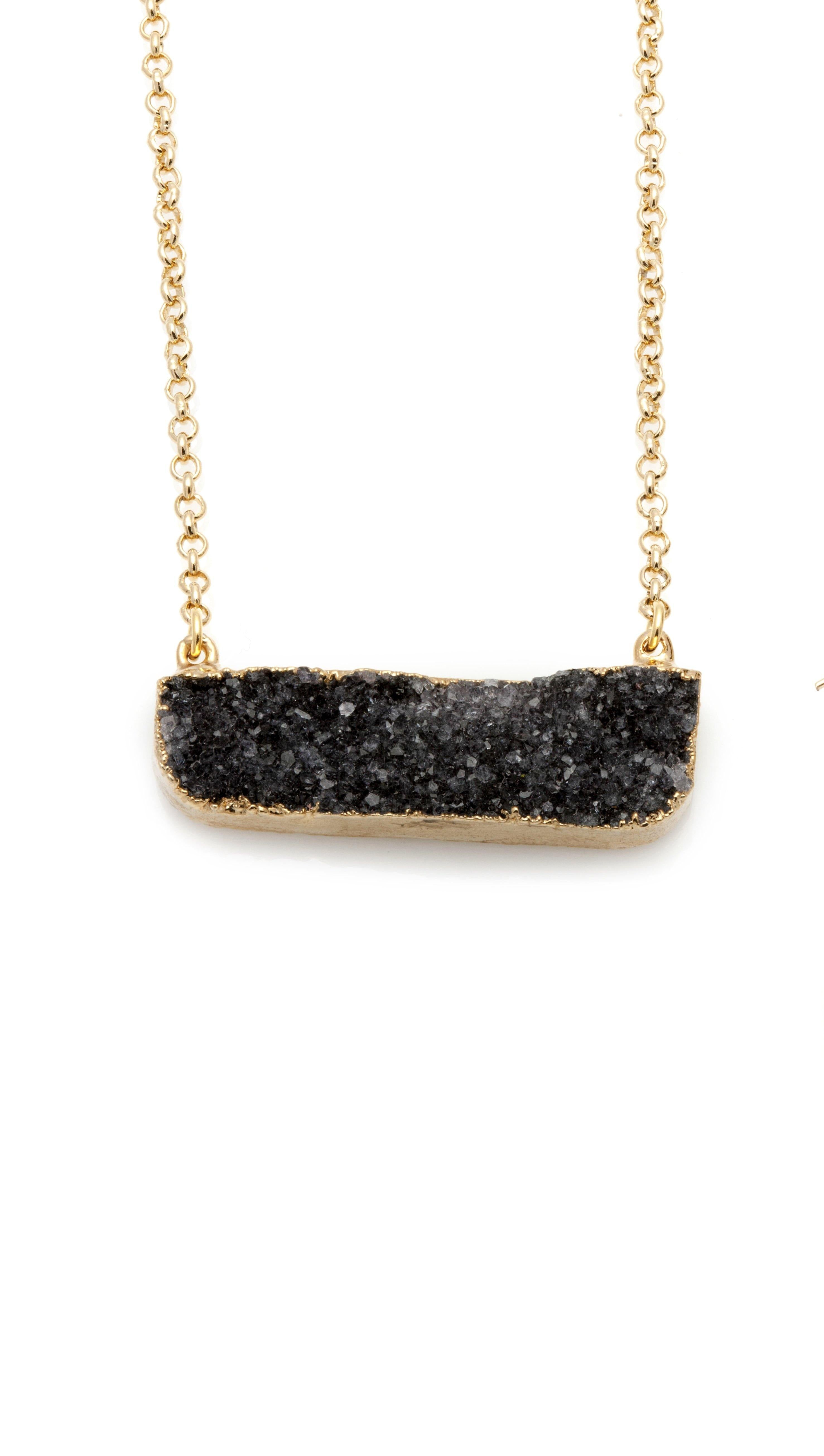 Druzy Black Agate Gold Short Necklace - Irit Sorokin Designs Canadian handmade jewelry