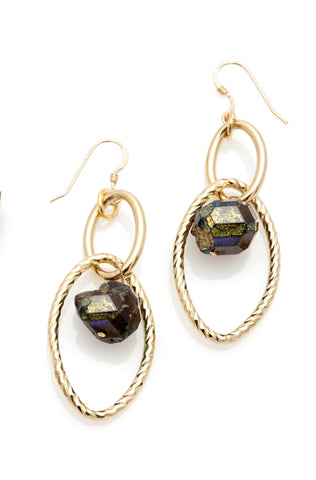 Hoop Dangle Gold Garnet Earrings - Irit Sorokin Designs Canadian handmade jewelry