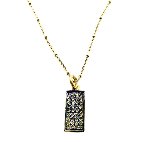 Diamond Pave Rectangle Pendant Short necklace - Irit Sorokin Designs Canadian handmade jewelry
