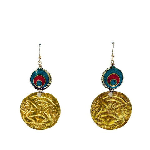 Nepalese Vintage Inlaid Coral and Turquise Earrings - Irit Sorokin Designs Canadian handmade jewelry