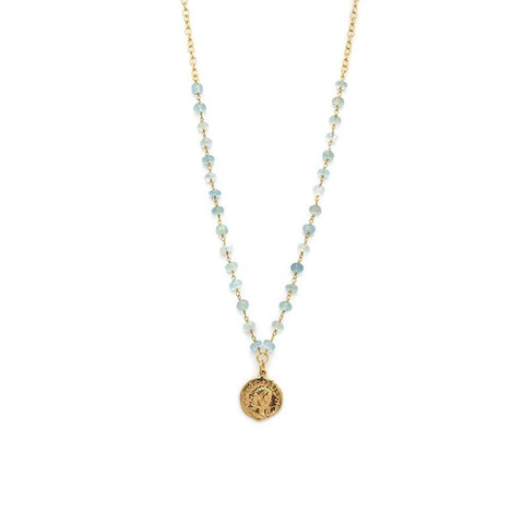 Aquamarine Roman Coin Necklace - Irit Sorokin Designs Canadian handmade jewelry