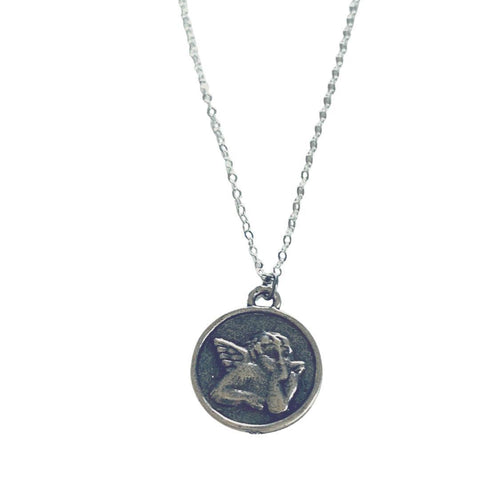 Cupid Coin Pendant Short Silver Necklace - Irit Sorokin Designs Canadian handmade jewelry