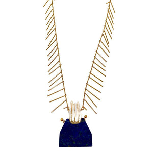 Lapis Lazuli Antique Pendant Long Gold Necklace - Irit Sorokin Designs Canadian handmade jewelry