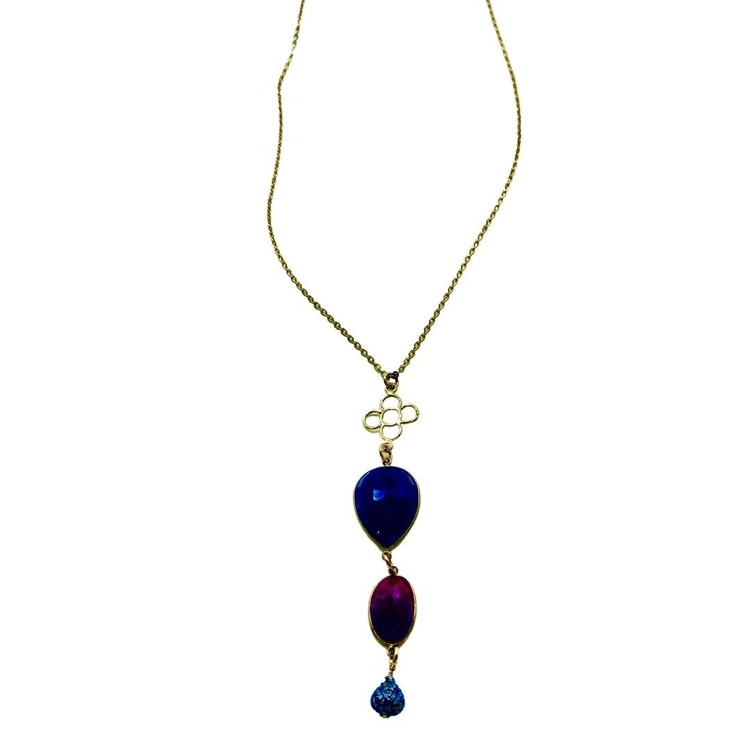 Ruby And Sapphire With A Diamond Pave Pendant Long Gold Necklace - Irit Sorokin Designs Canadian handmade jewelry