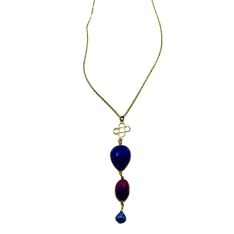 Ruby And Sapphire With A Diamond Pave Pendant Long Gold Necklace