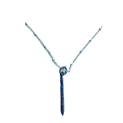 Diamond Pave Spike Pendant Short Necklace