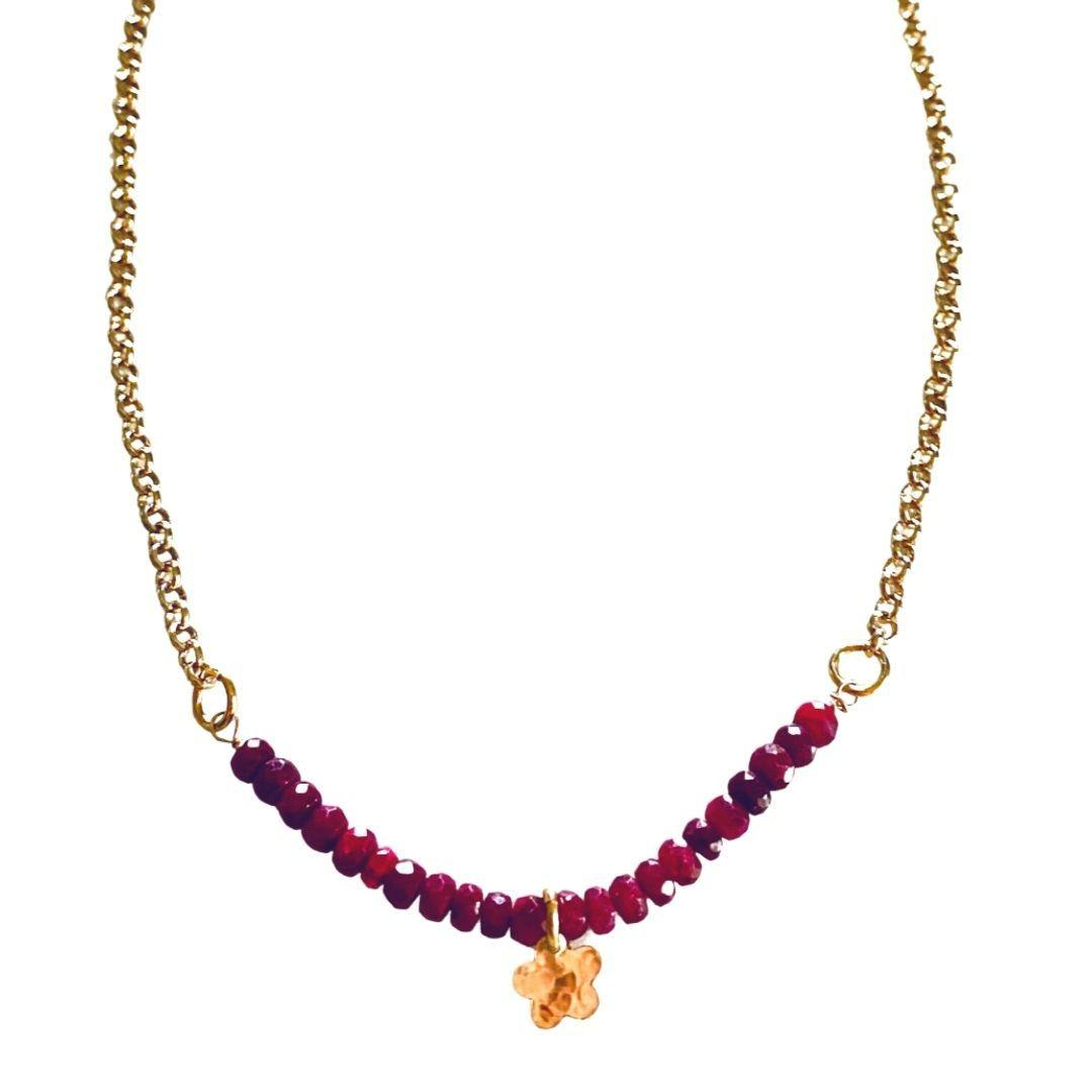 Ruby And Gold Flower Necklace - Irit Sorokin Designs Canadian handmade jewelry