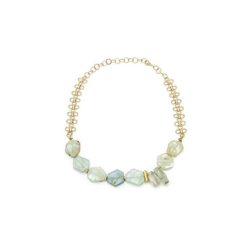 Aquamarine And prasiolite Necklace - Irit Sorokin Designs Canadian handmade jewelry