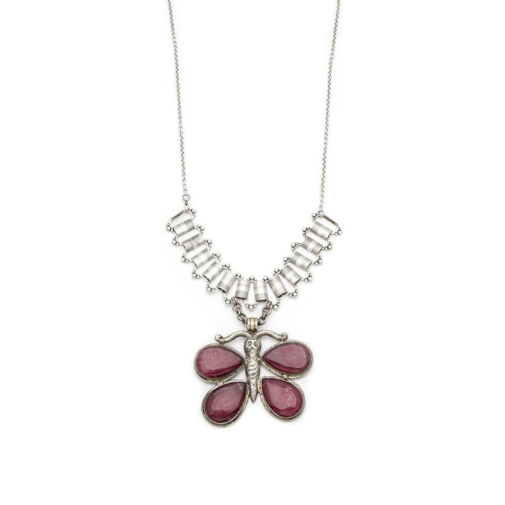 Ruby Antique Butterfly Pendant Necklace - Irit Sorokin Designs Canadian handmade jewelry