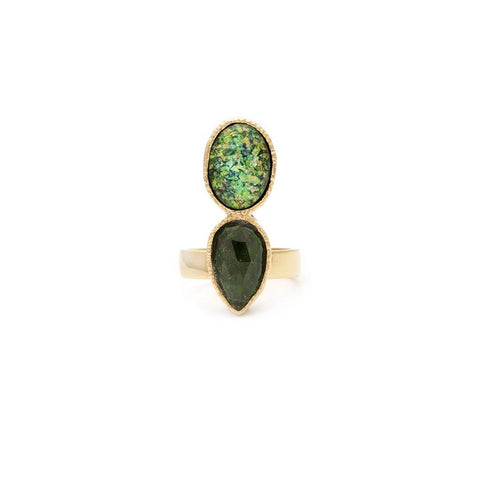 Emerald and Fire Opal Ring
