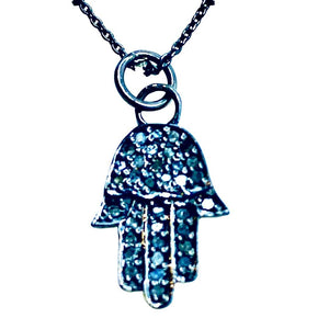 Diamond Pave Hamsa Short Necklace - Irit Sorokin Designs Canadian handmade jewelry