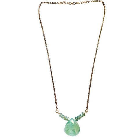 Aquamarine Gold Short Necklace - Irit Sorokin Designs Canadian handmade jewelry