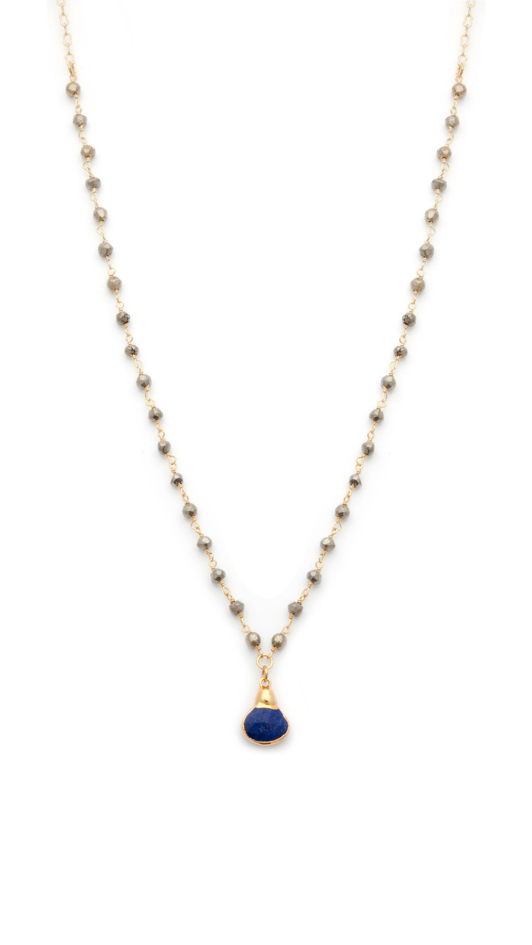 Lapis Lazuli and Pyrite Gold Filled Necklace - Irit Sorokin Designs Canadian handmade jewelry
